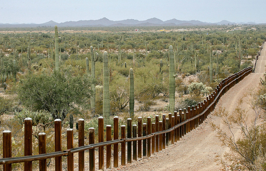 ** FILE ** The international border line made up of bollards: irregular, concrete-filled steel poles, seperating Mexico, left from the United States are shown in a Feb. 17, 2006 file photo inside the Organ Pipe National Monument, Ariz.  Sixty three miles of vehicle barriers are in place on the Arizona border and authorities look to have a total of 200 miles of barriers across the Southwest, mostly in Arizona and New Mexico, by the end of 2008. (AP Photo/Matt York, File)