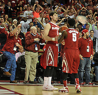 NWA Democrat-Gazette/Michael Woods --01/06/2015--w@NWAMICHAELW... Alabama guard Riley Norris reacts with teammate Justin Coleman after turning the ball over in the final seconds of the overtime period of the Razorbacks 93-91 overtime victory over Alabama during Thursday nights game at Bud Walton Arena in Fayetteville.