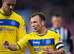 Dunfermline v St Johnstone..24.12.11   SPL .Jody Morris talks with Marcus Haber.Picture by Graeme Hart..Copyright Perthshire Picture Agency.Tel: 01738 623350  Mobile: 07990 594431