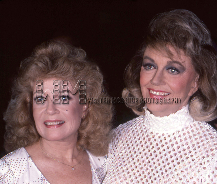 Gloria De Haven and Dorothy Malone photographed at the Sheraton Centre Hotel on September 1,1983 in New York City.