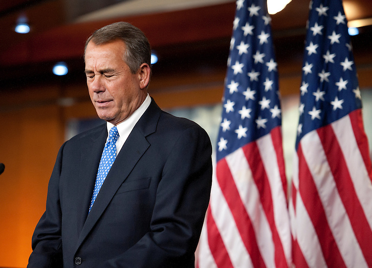 UNITED STATES - Jan 16: Speaker of the House John Boehner, R-OH., during his weekly on-camera press briefing with the press in the U.S. Capitol on January 16, 2014.  (Photo By Douglas Graham/CQ Roll Call)