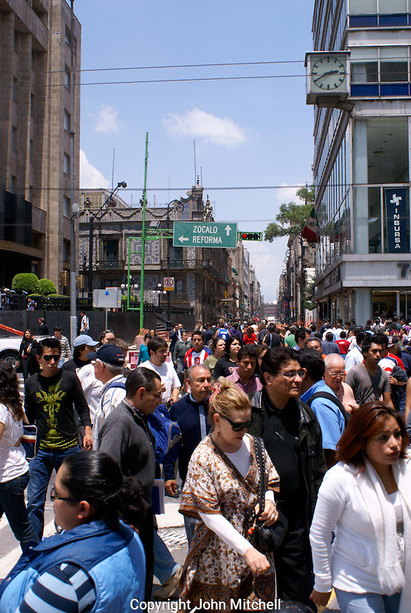 Crowded downtown street in Mexico City