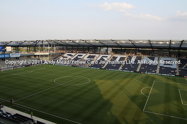 09 June 2011: A view from the press box before the game. Sporting Kansas City played the Chicago Fire to a 0-0 tie in the inaugural game at LIVESTRONG Sporting Park in Kansas City, Kansas in a 2011 regular season Major League Soccer game.
