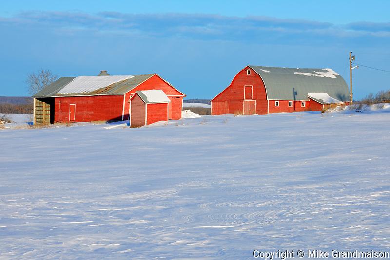 Red barn in winter<br />Grandview<br />Manitoba<br />Canada
