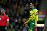 1st December 2019; Carrow Road, Norwich, Norfolk, England, English Premier League Football, Norwich versus Arsenal; Ben Godfrey of Norwich City reacts as the referee awards Arsenal a penalty - Strictly Editorial Use Only. No use with unauthorized audio, video, data, fixture lists, club/league logos or 'live' services. Online in-match use limited to 120 images, no video emulation. No use in betting, games or single club/league/player publications