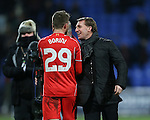 Brendan Rodgers manager of Liverpool celebrates with Fabio Borini of Liverpool - FA Cup Fourth Round replay - Bolton Wanderers vs Liverpool - Macron Stadium  - Bolton - England - 4th February 2015 - Picture Simon Bellis/Sportimage