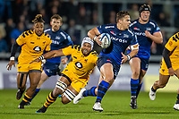 8th November 2019; AJ Bell Stadium, Salford, Lancashire, England; English Premiership Rugby, Sale Sharks versus Coventry Wasps; A missed tackle on Rohan Janse van Rensburg of Sale Sharks - Editorial Use