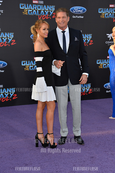 David Hasselhoff &amp; Hayley Roberts at the world premiere for &quot;Guardians of the Galaxy Vol. 2&quot; at the Dolby Theatre, Hollywood. <br /> Los Angeles, USA 19 April  2017<br /> Picture: Paul Smith/Featureflash/SilverHub 0208 004 5359 sales@silverhubmedia.com