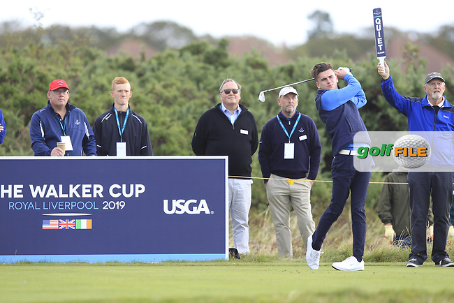 Conor Gough (GB&I) on the 4th tee during the Foursomes at the Walker Cup, Royal Liverpool Golf CLub, Hoylake, Cheshire, England. 07/09/2019.<br /> Picture Thos Caffrey / Golffile.ie<br /> <br /> All photo usage must carry mandatory copyright credit (© Golffile | Thos Caffrey)