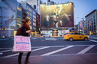 A billboard advertising Calvin Klein brand underwear featuring model Kendall Jenner in the Soho neighborhood of New York on Tuesday, March 29, 2016. Klein's advertisements use sex and provocative images to test society's cultural and moral boundaries. (© Richard B. Levine)