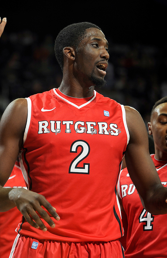 Rutgers Scarlet Knights Dane Miller (2) during a game against Notre Dame on January 19, 2013 at the Purcell Pavilion in South Bend, IN. Notre Dame beat Rutgers 69-66.