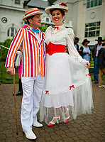 "LOUISVILLE, KY - MAY 05: A couple dresses up as ""Mary Poppins"" characters on Kentucky Derby Day at Churchill Downs on May 5, 2018 in Louisville, Kentucky. (Photo by Scott Serio/Eclipse Sportswire/Getty Images)"