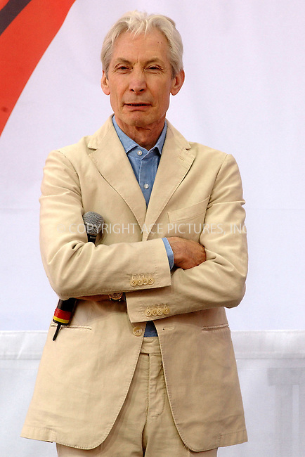 WWW.ACEPIXS.COM . . . . . ....NEW YORK, MAY 10, 2005....Charlie Watts of The Rolling Stones at a press conference held at the Julliard School of Music where they announced their plans for a 2005-2006 World Tour.....Please byline: KRISTIN CALLAHAN - ACE PICTURES.. . . . . . ..Ace Pictures, Inc:  ..Craig Ashby (212) 243-8787..e-mail: picturedesk@acepixs.com..web: http://www.acepixs.com