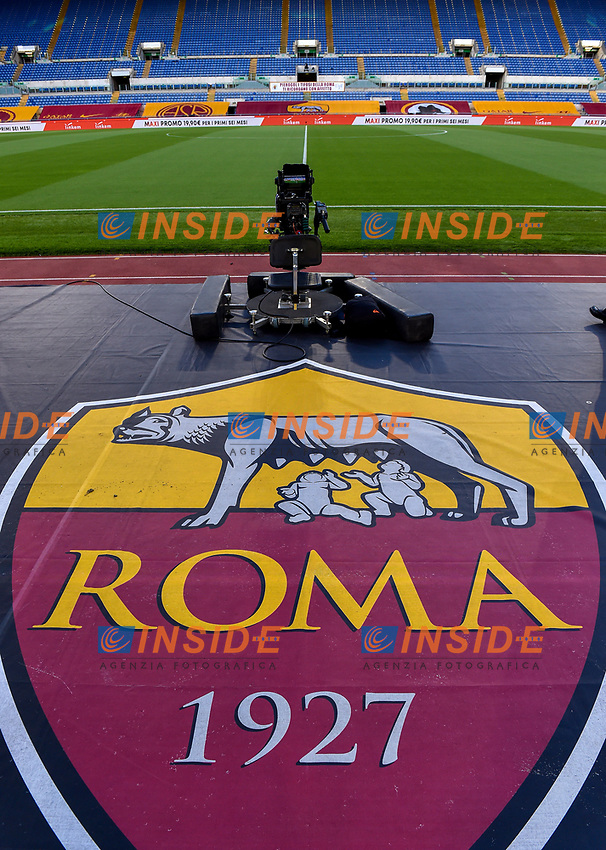 AS Roma logo is seen on the ground prior to the Serie A football match between AS Roma and UC Sampdoria at Olimpico stadium in Rome ( Italy ), June 24th, 2020. Play resumes behind closed doors following the outbreak of the coronavirus disease. AS Roma won 2-1 over UC Sampdoria. <br /> Photo Andrea Staccioli / Insidefoto