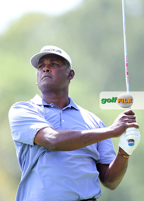 Vijay Singh of Fiji watches his drive from the 2nd tee during the 3rd round of the Valspar Championship, Innisbrook Resort (Copperhead), Palm Harbor, Florida, USA<br /> Picture: Peter Mulhy / Golffile