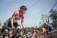 Demi De Jong (NED/Lotto Soudal Ladies) up the Mur de Huy.<br /> <br /> 21st La Fl&egrave;che Wallonne Femmes <br /> 1 day race: Huy - Huy (118,5KM)