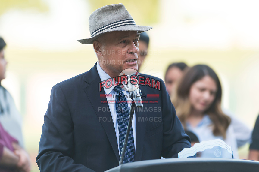Arizona Fall League President Steve Cobb addresses the crowd before the Fall Stars game at Surprise Stadium on November 3, 2018 in Surprise, Arizona. The AFL West defeated the AFL East 7-6 . (Zachary Lucy/Four Seam Images)