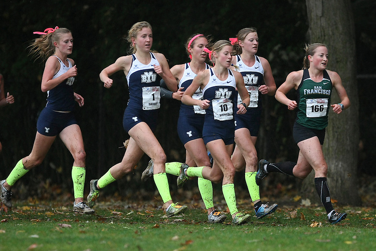 October 27, 2012; Portland, OR, USA; San Francisco Dons runner Kate Jamboretz (166), BYU Cougars runner Kathryn Vidmar (10), BYU Cougars runner Sarah Darby (1) during the WCC Cross Country Championships at Fernhill Park.
