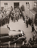 BNPS.co.uk (01202 558833)<br /> Pic: DukesAuctions/BNPS<br /> <br /> Edward returns a Nazi salute when leaving the factory.<br /> <br /> Remarkable photos of Edward VIII touring a car factory during his controversial visit to Nazi Germany in 1937 have been unearthed.<br /> <br /> Huge crowds turned out to catch a glimpse of the former King, rumoured to be a strong supporter of the Nazi party and the fascist cause, who even walked through a guard of Nazi troops giving Hitler salutes.<br /> <br /> The Duke of Windsor, who had abdicated the previous year, was accompanied by high ranking Nazi party officials and even an SS officer whilst touring the Mercedes-Benz factory in Stuttgart.<br /> <br /> During the trip, the Duke had a private meeting with Hitler at his retreat in Berchtesgaden and was infamously photographed giving Nazi salutes.