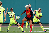 Rochester, NY - Saturday July 09, 2016: Nahomi Kawasumi, Lianne Sanderson, Jessica Fishlock during a regular season National Women's Soccer League (NWSL) match between the Western New York Flash and the Seattle Reign FC at Frontier Field.