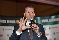 Januari 08, 2015, Rotterdam, ABNAMRO, Coolsingel, ABNAMROWTT Pressconference, tournament director Richard Krajicek explains<br /> Photo: Tennisimages/Henk Koster