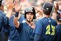 Third baseman Rigoberto Terrazas (9) of the Columbia Fireflies is greeted after scoring a run in a game against the Greenville Drive on Saturday, May 26, 2018, at Spirit Communications Park in Columbia, South Carolina. Columbia won, 9-2. (Tom Priddy/Four Seam Images)