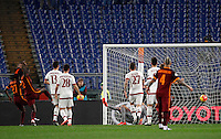 Calcio, Serie A: Roma vs Milan. Roma, stadio Olimpico, 9 gennaio 2016.<br /> Roma's Antonio Ruediger, second from left, scores during the Italian Serie A football match between Roma and Milan at Rome's Olympic stadium, 9 January 2016.<br /> UPDATE IMAGES PRESS/Riccardo De Luca