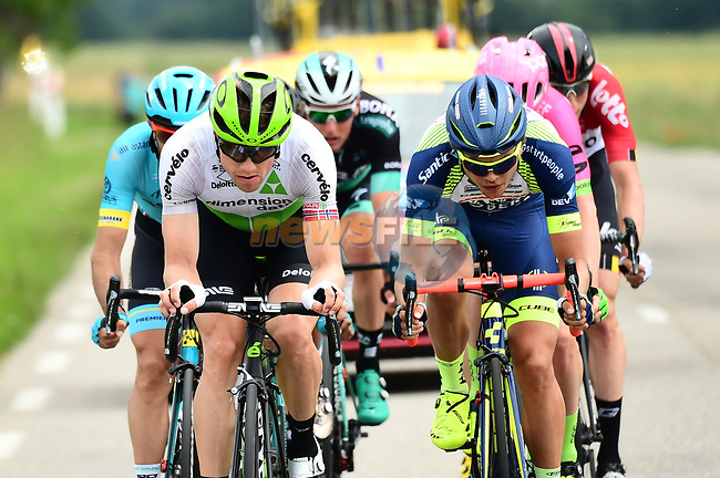 The breakaway group featuring Edvald Boasson Hagen (NOR) Team Dimension Data, Odd Christian Eiking (NOR) Wanty-Groupe Gobert, Simon Clarke (AUS) EF-Drapac-Cannondale, Dario Cataldo (ITA) Astana Pro Team, Jens Keukeleire (BEL) Lotto-Soudal, Lukas Pöstlberger (AUT) Bora-Hansgrohe in action during Stage 4 of the 2018 Criterium du Dauphine 2018 running 181km from Chazey sur Ain to Lans en Vercors, France. 7th June 2018.<br /> Picture: ASO/Alex Broadway   Cyclefile<br /> <br /> <br /> All photos usage must carry mandatory copyright credit (© Cyclefile   ASO/Alex Broadway)