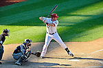 24 September 2012: Washington Nationals outfielder Tyler Moore at bat against the Milwaukee Brewers at Nationals Park in Washington, DC. The Nationals defeated the Brewers 12-2 in the final game of their 4-game series, splitting the series at two. Mandatory Credit: Ed Wolfstein Photo