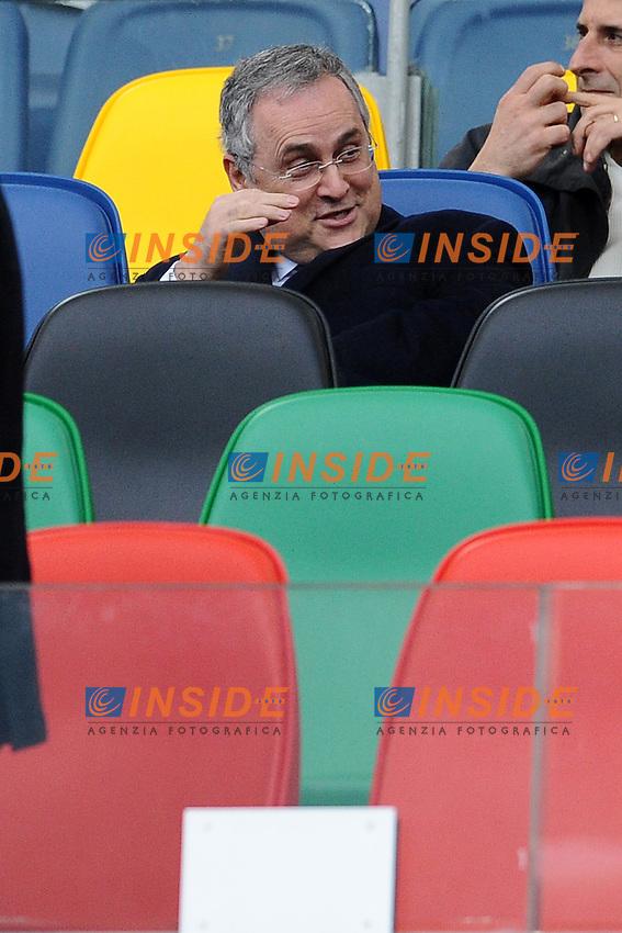 Claudio Lotito, presidente della Lazio.30/03/2013 Roma.Stadio Olimpico.Football Calcio 2012 / 2013 .Campionato di calcio serie A.Lazio vs Catania 2-1.Foto Insidefoto / Antonietta Baldassarre.