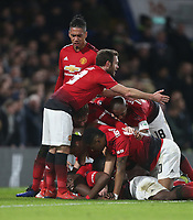 Manchester United's Paul Pogba is congratulated after scoring his side's second goal<br /> <br /> Photographer Rob Newell/CameraSport<br /> <br /> Emirates FA Cup Fifth Round - Chelsea v Manchester United - Monday 18th February - Stamford Bridge - London<br />  <br /> World Copyright © 2019 CameraSport. All rights reserved. 43 Linden Ave. Countesthorpe. Leicester. England. LE8 5PG - Tel: +44 (0) 116 277 4147 - admin@camerasport.com - www.camerasport.com