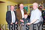 Gary McMahon signing weekend held in the Rambling Inn Abbeyfeale Friday night, Pictured L-R : Tommy Kenny (Chairman), Donie Lyons (Joint Treasurer), Small man is Liam Broderick, who was being present with a plaque from the west limerick signing club for being All Ireland english signing champion at the all Ireland fleadh under 12. Philip Enright (Joint Treasurer).