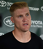 Josh McCown #15, New York Jets quarterback, speaks with the media after a day of Training Camp at the Atlantic Health Jets Training Center in Florham Park, NJ on Saturday, Aug. 18, 2018.