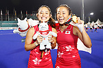 (L to R) <br /> Aki Yamada, <br />  Shihori Oikawa (JPN), <br /> AUGUST 31, 2018 - Hockey : <br /> Women's Final match <br /> between Japan 2-1 India  <br /> at Gelora Bung Karno Hockey Field <br /> during the 2018 Jakarta Palembang Asian Games <br /> in Jakarta, Indonesia. <br /> (Photo by Naoki Morita/AFLO SPORT)