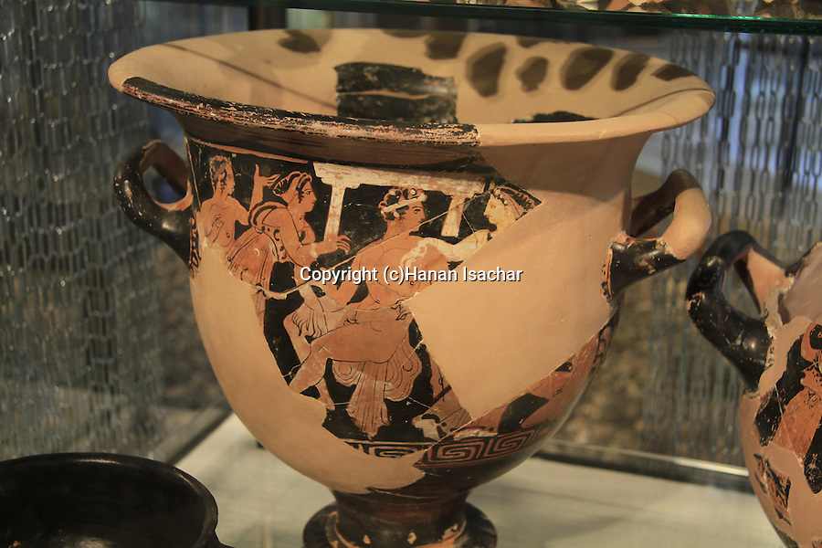 Imported clay vessel, used in the cult of Dionysos, 5th-4th centuries BC, found in a favissa of a Temple in Tel Acco, on display at the Hecht Museum, the University of Haifa