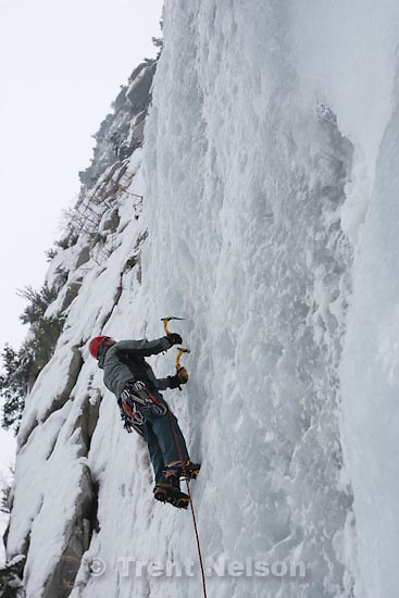 Trent Nelson  |  The Salt Lake Tribune.Shane Hall ice climbing at the Great White Icicle in Little Cottonwood Canyon, Tuesday, December 29, 2009.