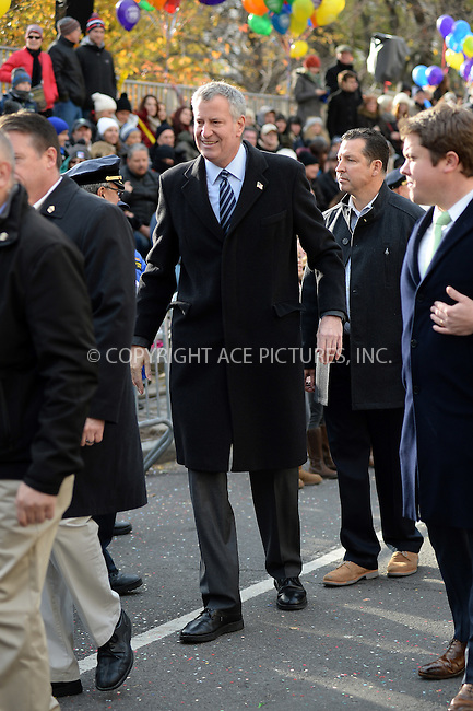 www.acepixs.com<br /> <br /> November 24 2016, New York City<br /> <br /> New York Mayor Bill de Blasio made an appearance at the 90th Annual Macy's Thanksgiving Day Parade on November 24, 2016 in New York City.<br /> <br /> By Line: Kristin Callahan/ACE Pictures<br /> <br /> <br /> ACE Pictures Inc<br /> Tel: 6467670430<br /> Email: info@acepixs.com<br /> www.acepixs.com