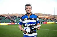 Man of the Match Rhys Priestland of Bath Rugby poses with his Pol Roger bottle of champagne. Aviva Premiership match, between Bath Rugby and Harlequins on February 18, 2017 at the Recreation Ground in Bath, England. Photo by: Patrick Khachfe / Onside Images
