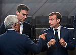 Belgium, Brussels - July 11, 2018 -- NATO summit, meeting of Heads of State / Government; here, Emmanuel MACRON (ri), President of France, Pedro SÁNCHEZ (Sanchez) (ce), Prime Minister of Spain, Antonio COSTA (le), Prime Minister of Portugal -- Photo © HorstWagner.eu