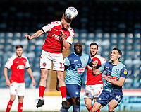 Fleetwood Town's Paddy Madden heads under pressure from Wycombe Wanderers' Matthew Bloomfield <br /> <br /> Photographer Andrew Kearns/CameraSport<br /> <br /> The EFL Sky Bet League One - Wycombe Wanderers v Fleetwood Town - Saturday 4th May 2019 - Adams Park - Wycombe<br /> <br /> World Copyright © 2019 CameraSport. All rights reserved. 43 Linden Ave. Countesthorpe. Leicester. England. LE8 5PG - Tel: +44 (0) 116 277 4147 - admin@camerasport.com - www.camerasport.com