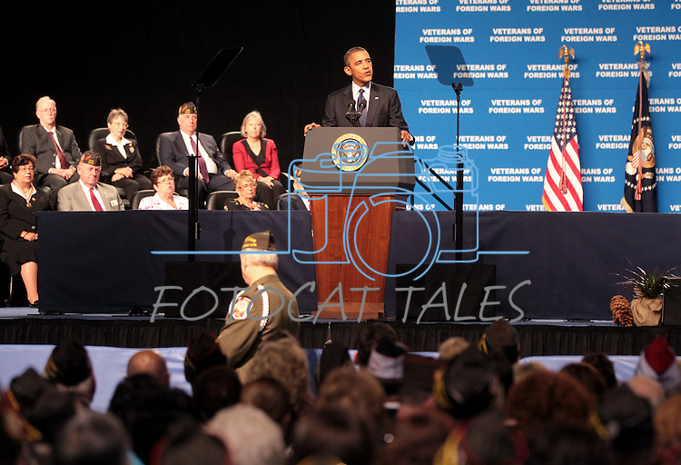 Presiden Barack Obama speaks at the 113th National Convention of the Veterans of Foreign Wars in Reno, Nev., on Monday, July 23, 2012..Photo by Cathleen Allison