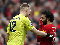 7th March 2020; Anfield, Liverpool, Merseyside, England; English Premier League Football, Liverpool versus AFC Bournemouth; Roberto Firmino of Liverpool speaks with Bournemouth goalkeeper Aaron Ramsdale