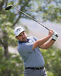 Roberto Diaz swings during the Barracuda Championship PGA golf tournament at Montrêux Golf and Country Club in Reno, Nevada on Thursday, July 25, 2019.