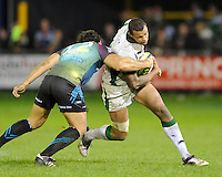 Courtney Lawes of Northampton Saints (right) is tackled by Sonny Parker of Ospreys during the LV= Cup second round match between Ospreys and Northampton Saints at Riverside Hardware Brewery Field, Bridgend (Photo by Rob Munro)