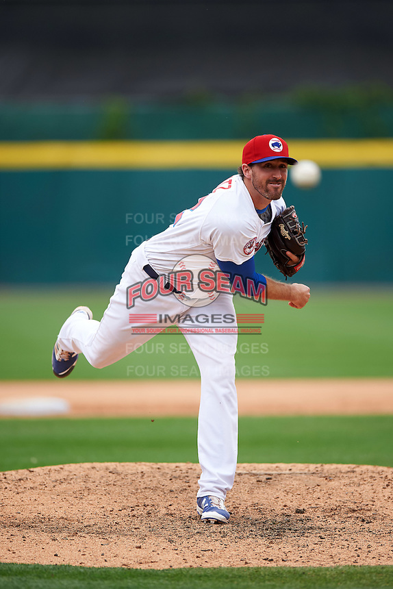 Buffalo Bisons relief pitcher Bo Schultz (52) delivers a pitch during a game against the Louisville Bats on June 23, 2016 at Coca-Cola Field in Buffalo, New York.  Buffalo defeated Louisville 9-6.  (Mike Janes/Four Seam Images)