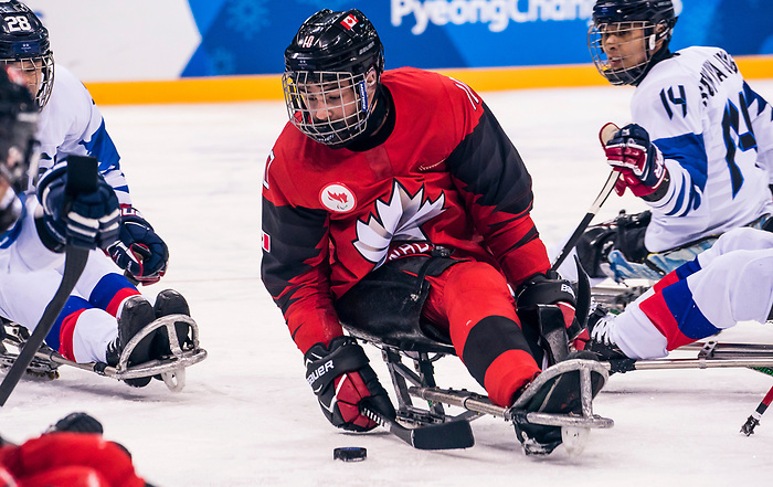 PyeongChang 15/3/2018 - Ben Delaney(#10), of Ottawa, ON, in action as Canada takes on Korea in semifinal hockey action at the Gangneung Hockey Centre during the 2018 Winter Paralympic Games in Pyeongchang, Korea. Photo: Dave Holland/Canadian Paralympic Committee