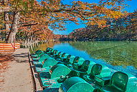 Garner State Park paddle boats wait on customers on the wonderful clear Frio river on this nice fall day. Fall is such a wonderful time to visit the park as the waters reflection the cypress trees wonderful fall foliage and the river is tranquil in the early mornings.