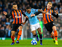 Manchester City's Raheem Sterling battles with Shakhtar Donetsk's Maycon and Viktor Kovalenko<br /> <br /> Photographer Alex Dodd/CameraSport<br /> <br /> UEFA Champions League Group F - Manchester City v Shakhtar Donetsk - Wednesday 7th November 2018 - City of Manchester Stadium - Manchester<br />  <br /> World Copyright &copy; 2018 CameraSport. All rights reserved. 43 Linden Ave. Countesthorpe. Leicester. England. LE8 5PG - Tel: +44 (0) 116 277 4147 - admin@camerasport.com - www.camerasport.com