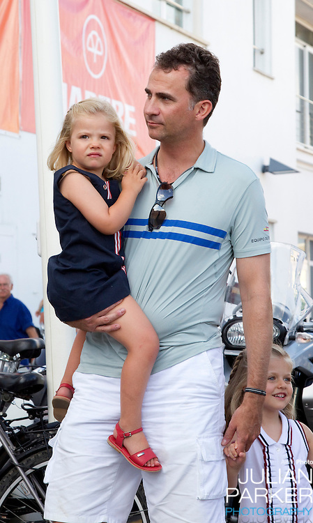 Crown Prince Felipe  and Crown Princess Letizia of Spain with their daughters, Princess Leonor, and  Princess Sofia attend a concert, at The Royal Yacht Club, in Palma, Mallorca on the third day of the Copa Del Rey sailing regatta..Crown Prince Felipe with Princess Sofia