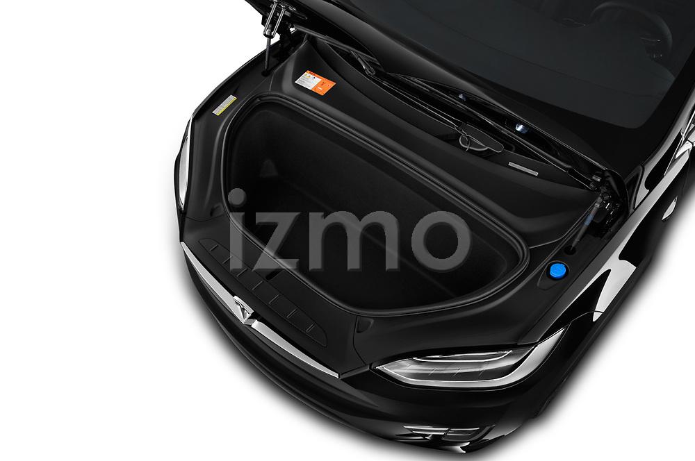Car Stock 2017 Tesla Model-X 75D 5 Door SUV Engine  high angle detail view